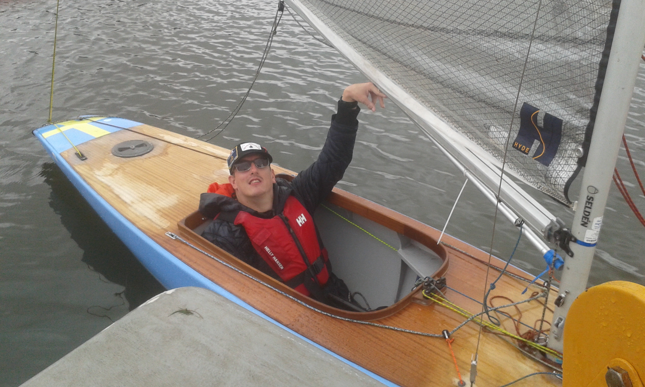 Chris in the Keel boat for the first time
