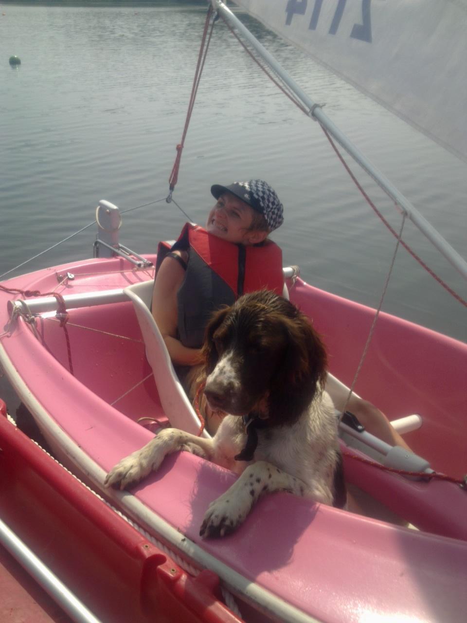 Nina showing Hamish my dog how to sail