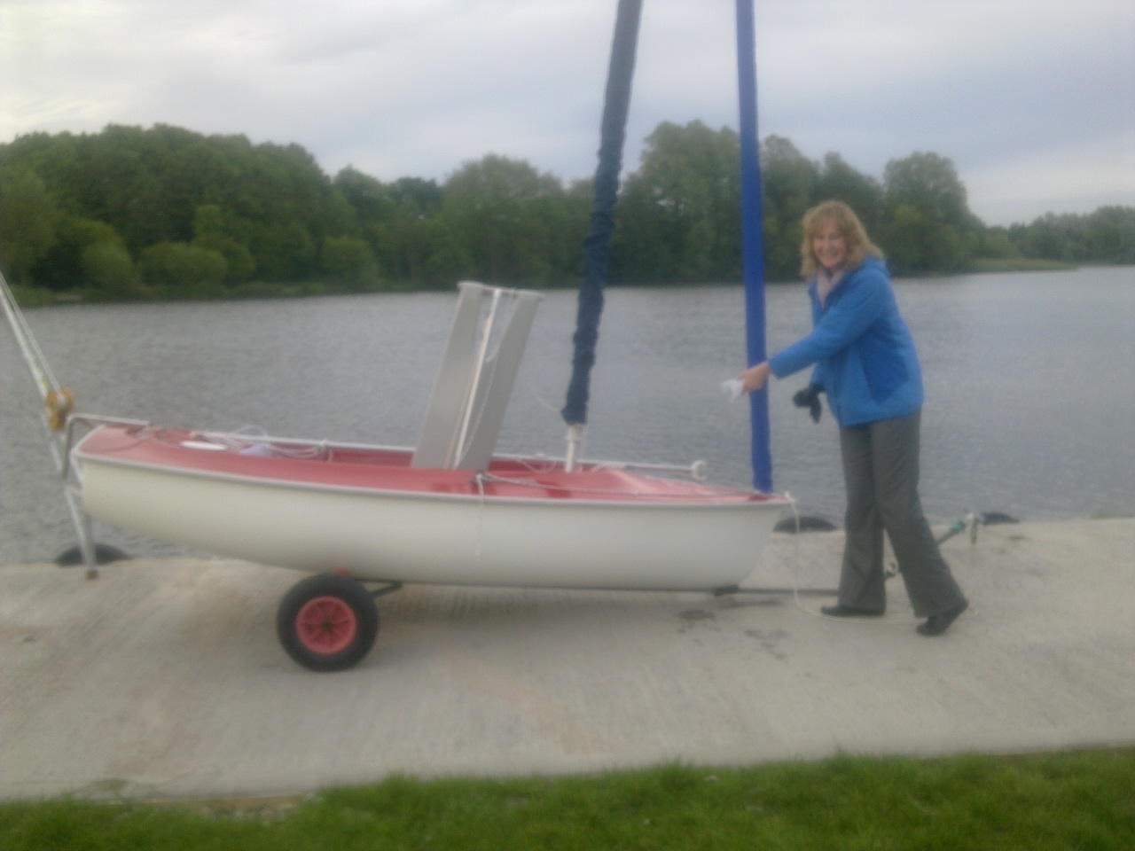 Karen Blundell getting ready to name her dinghy