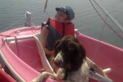 Nina showing Hamish my dog how to sail